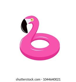 Summer flamingo float. Isolated