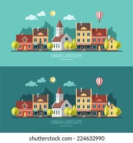 Summer - flat design urban landscape illustration