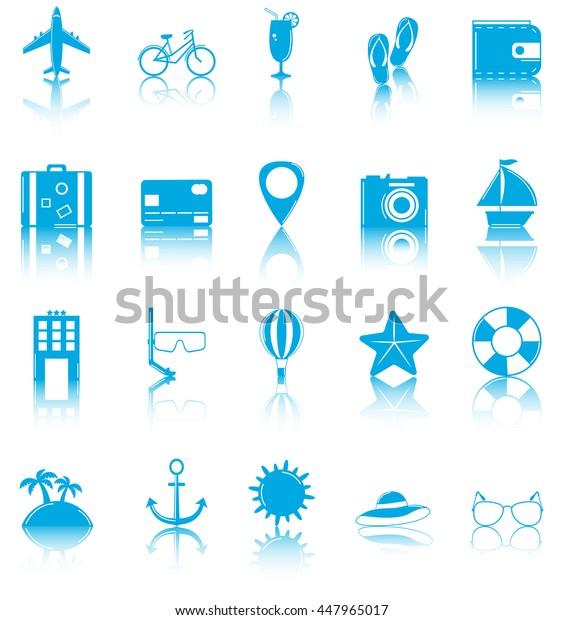 Summer flat icons set. Summer holidays. Vector illustration