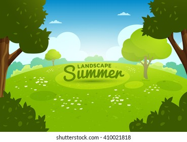 Summer flat landscape. Cartoon nature background. Meadow with flowers in the forest
