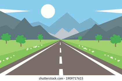 Summer flat landscape with road and mountains