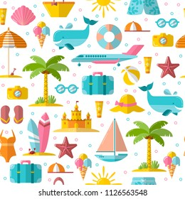 Summer flat seamless pattern with holyday and summer seasonal elements - palm, case, airplan, sun, sand and other. Flat modern endless background on summer theme