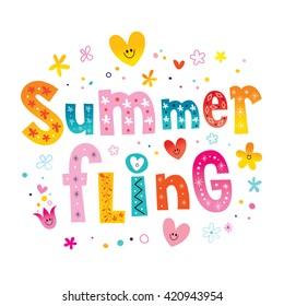 Summer fling unique lettering design