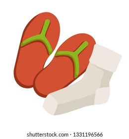 Summer flip flops and socks footwear and hosiery isolated object vector clean and dry swimming pool or beach shoes and foot accessory fungus infection prevention medicine and healthcare hygiene