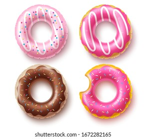 Summer floater donuts set vector design. Inflatable swim rings and rubber toy swimming elements isolated in white background for summer vacation. Vector illustration