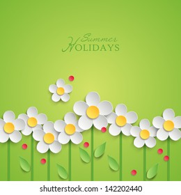 Summer floral background with paper daisy flowers. Vector illustration
