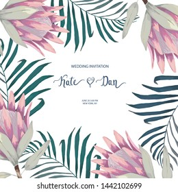 Summer floral card with palm leaves and protea. Vector wedding illustration. Watercolor style