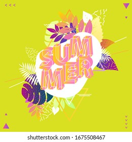 Summer floral design. Poster with text and foliage.