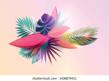 Summer floral design. Stylized tropical leaves.