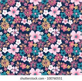 summer floral garden seamless pattern