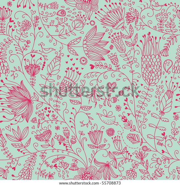 Summer Floral Seamless Pattern Cute Wallpapers Stock Vector Royalty