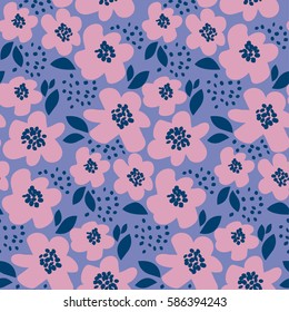 summer floral vector illustration in retro 60s style. abstract hand drawn flowers seamless pattern for fabric, wrapping paper.
