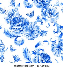 Summer floral vintage seamless pattern blue roses and butterflies in boho style, floral natural greeting card, decoration blue roses, nature flower background