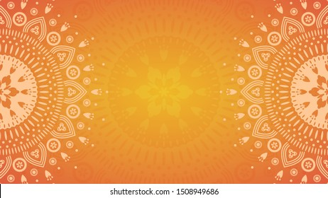 Summer Flower mandala on orange background. Festive folk floral illustration with place for text