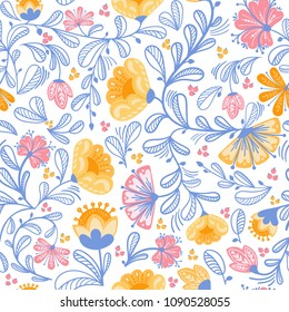 Summer flower seamless pattern. Floral vector line art endless background. Fabric print with yellow and pink flowers and blue leaves