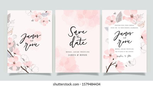 Summer Flower Wedding Invitation set, floral invite thank you, rsvp modern card Design in pink leaf greenery  branches with blue background decorative Vector elegant rustic template