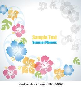 Summer flowers background. Illustration vector.