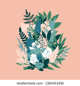 Summer flowers bouquet illustration. Spring floral composition. Beautiful spring plants. Vector illustration