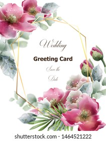 Summer flowers card Vector watercolor. Wedding invitation, save the date, decor illustration