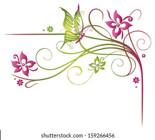 Summer flowers with colorful butterfly, border.