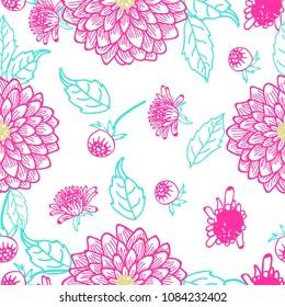 Summer Flowers Dahlia pattern