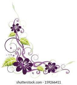 Summer flowers with leaves, floral element