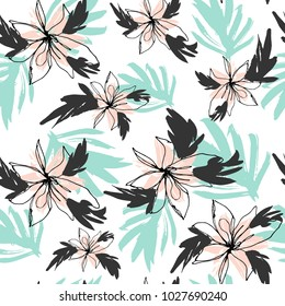 Summer Flowers and Leaves Tropical Seamless Pattern