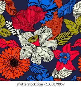 Summer flowers on dark background. Pattern design.