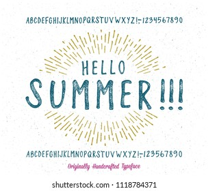 Summer  Font. Hand Made Typeface. Custom handwritten surfers alphabet. Original Letters and Numbers. Clean and Textured Versions Included. Vector.