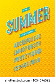 Summer font modern typography 3d alphabet sans serif style for party poster, greeting card, t shirt, sale banner, printing. Vector 10 eps