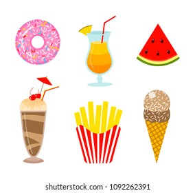 Summer food. Donut and orange drink or lemonade, watermelon and ice cream, milkshake and french fries. Fun sticker for Girl, fashion cute patch, icons. Trendy Collection different element for notebook