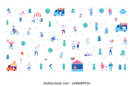 Summer food festival. Food street fair, family festival. People walking, riding bicycle, eating street food, have fun together. Flat vector poster and banner colorful design.