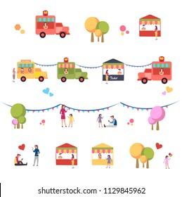 Summer Food Festival. Street and Fast Food. Drink, Pizza, Burger Truck flat vector illustration. Summer fest, food street fair, family festival .