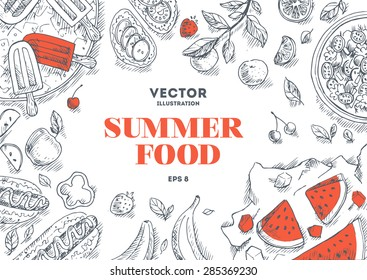 Summer Food Frame. Linear graphic. Vector illustration