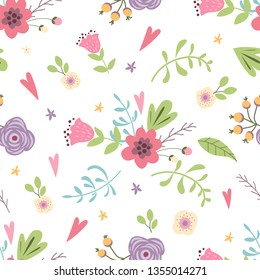 Summer forest floral seamless pattern hand drawn spring gentle pink background Vector illustration Cute meadow flower Cute kids garden design for wallpaper Repeated decorative template.