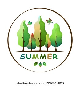 Summer forest landscape. Green trees and butterflies. Environment and ecology concept. For social media, web pages, bammer, poster, education materials. Semi flat isolated vector illustration.