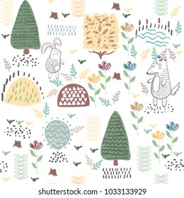 Summer forest seamless pattern with cute animals