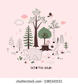 Summer Forest themed vector illustration. Woody landscape scene with cute bear graphics. Woodland childish print in Scandinavian decorative style. Cute forest tree plant bird animal poster. Into the