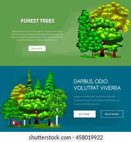 Summer Forest Tree and small animals in wild nature flora fauna. Cartoon vector set trees in outdoor park with branch, green grass foliagles and leafs landscape design plants