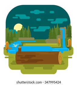 Summer forest. Vector flat illustration