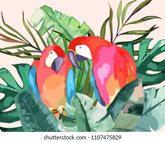Summer frame with tropical jungle leaves and parrot.Vector aloha illustration. Watercolor style