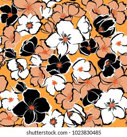 Summer fresh Floral seamless pattern blooming hand drawning flowers Botanical  Seamless vector texture.  for fashion prints. Printing with in hand drawn style on stylish orange