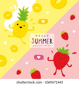 Summer Fresh Fruit Pineapple Strawberry Cartoon Smile Funny Cute Set Character Vector
