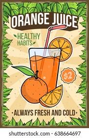 Summer Fresh Orange Juice Bar Restaurant Cafe Menu Poster Flyer Template Layout Vector Art Design Illustration