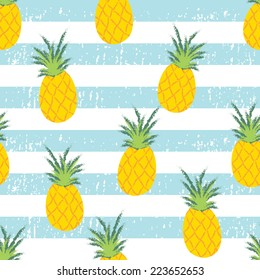 Summer Fresh Pineapple Stripe Seamless Repeat Wallpaper