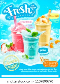 Summer frozen ice shaved poster with strawberry, mango and soda flavors in 3d illustration, refreshing fruit and toppings