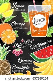 Summer Fruit and Berry Juice Bar Restaurant Cafe Menu Poster Flyer Template Layout Vector Art Design Illustration