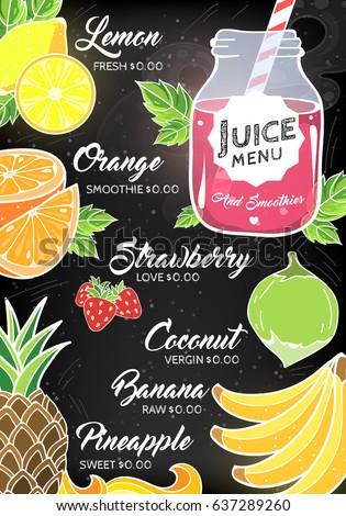 Immagine vettoriale a tema summer fruit berry juice bar restaurant