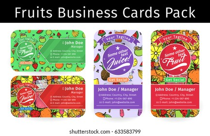 Summer Fruit Juice Smoothie Food Doodles Icons and Symbols Background Business Card Template Layout Vector Art Illustration