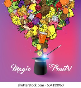 Summer Fruit Juice Smoothie Food Doodles Icons and Symbols Coming out of Magic Hat  Background Vector Art Illustration